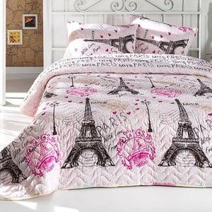 Ružová prešívaná ľahká prikrývka na dvojlôžko s obliečkami navankúše From Paris, 200×220cm