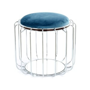 Petrolejový odkladací stolík / puf s konštrukciou v striebornej farbe 360 Living Canny, Ø50cm