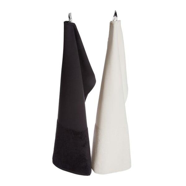 Krémový bavlnený uterák Iris Hantverk, 70 x 45 cm