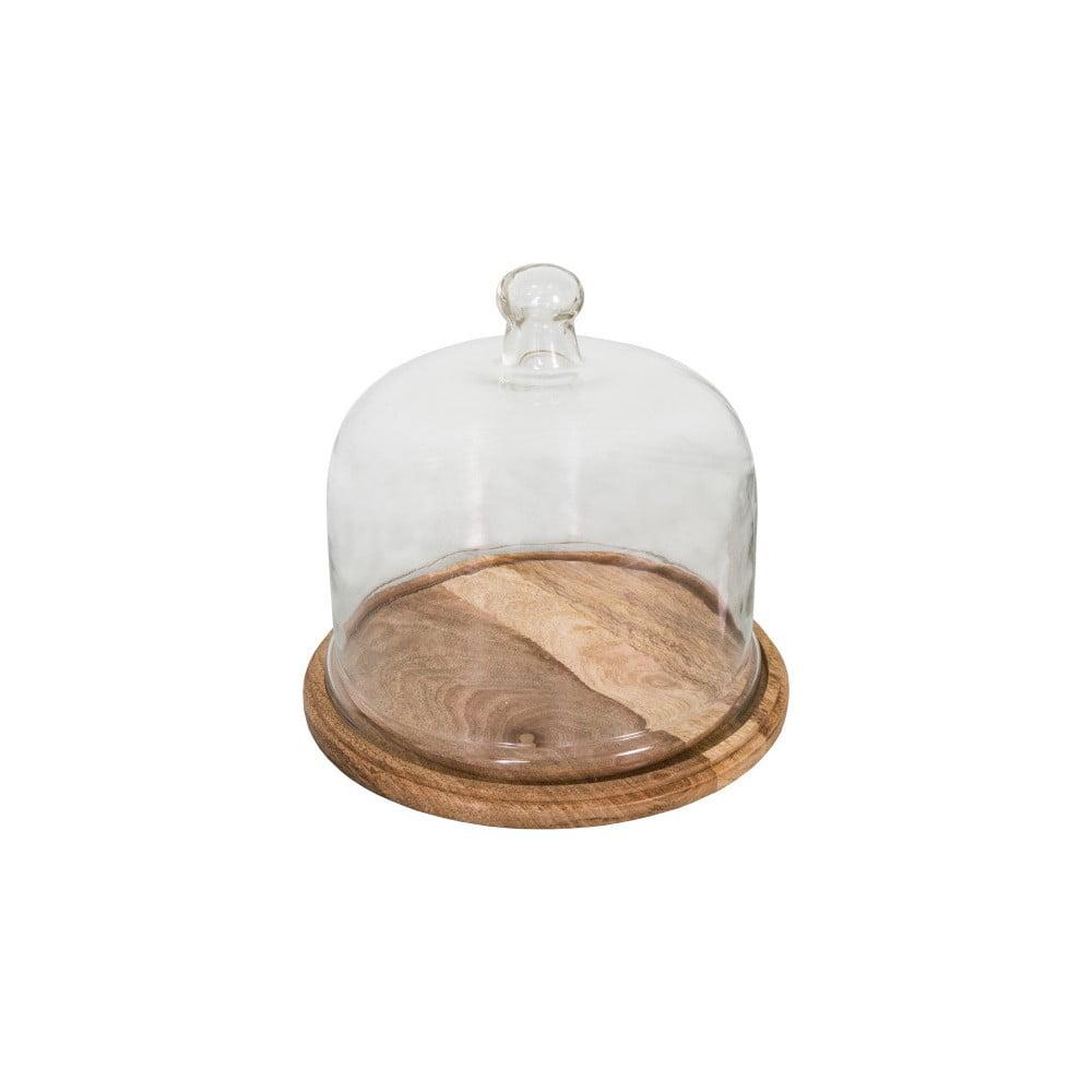 Dóza na syr s dreveným podnosom a skleneným vrchnákom Antic Line