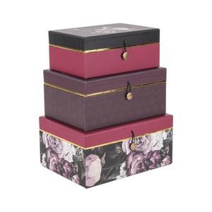 Sada 3 úložných boxov PT LIVING Flowers