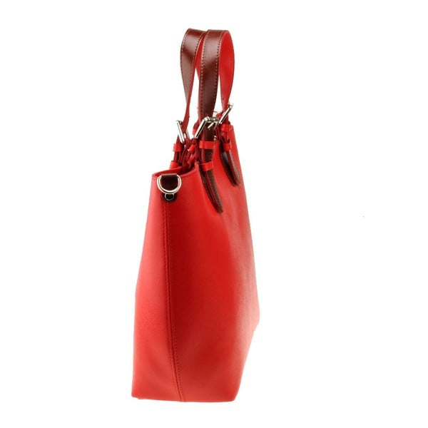 Červená kožená kabelka Florence Cembro