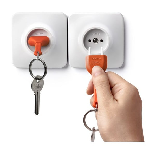 Zásuvka s kľúčenkou QUALY Unplug, oranžová