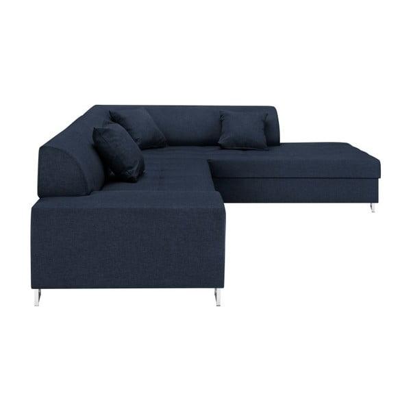 Modrá rohová rozkladacia pohovka s nohami v striebornej farbe Cosmopolitan Design Orlando, pravý roh