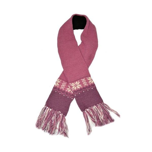Vlnený šál s flisovou podšívkou Ružové vločky