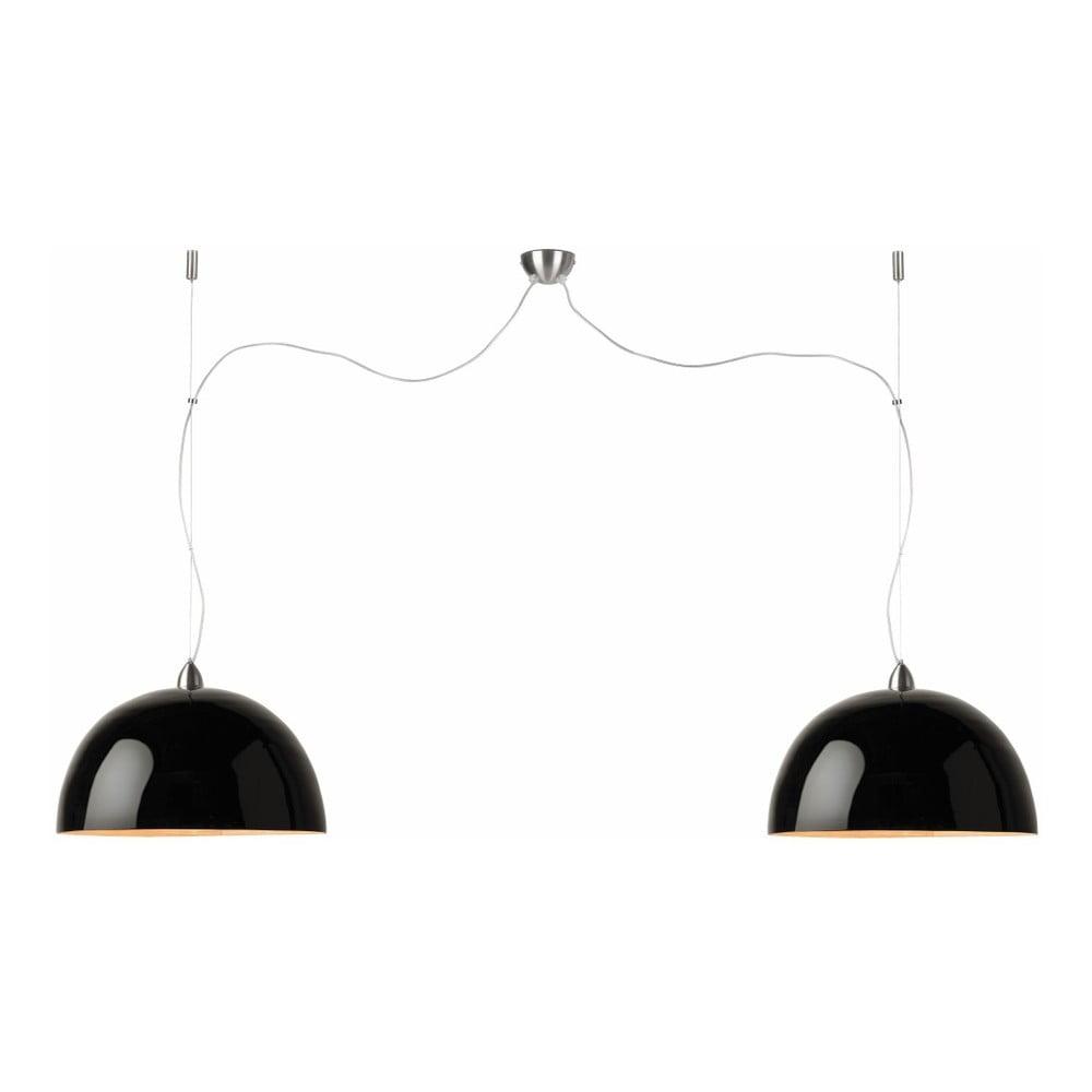 Čierne závesné dvojité svetlo z bambusu Good&Mojo Halong