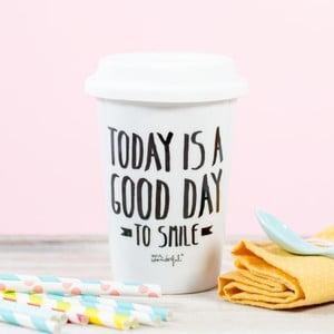 Keramický cestovný hrnček Mr. Wonderful Today is a good day to smile, 330 ml