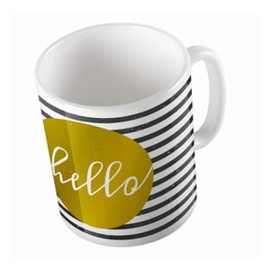Keramický hrnček Striped Hello, 330 ml