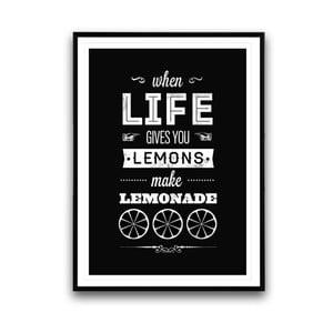 Plagát v drevenom ráme Make lemonade, 38x28 cm