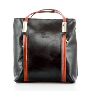 Čierno-hnedá kožená kabelka/batoh Glorious Black Zara
