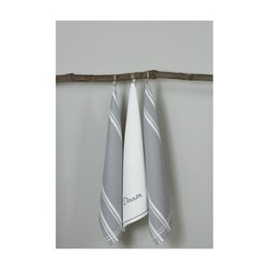 Sada 3 sivo-bielych kuchynských utierok My Home Plus Dinner, 50×70 cm