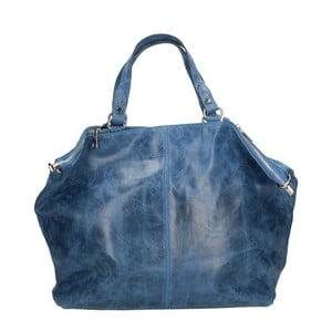 Modrá kožená kabelka Chicca Borse Jeans