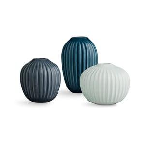 Sada 3 kameninových zelených váz Kähler Design Hammershoi Miniature