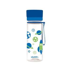 Fľaša na vodu s modrým viečkom a potlačou Aladdin Aveo Kids Bloom, 350ml