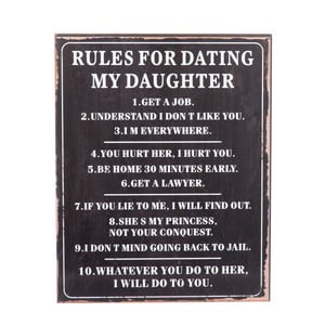 Ceduľa Rules for dating, 40x50 cm