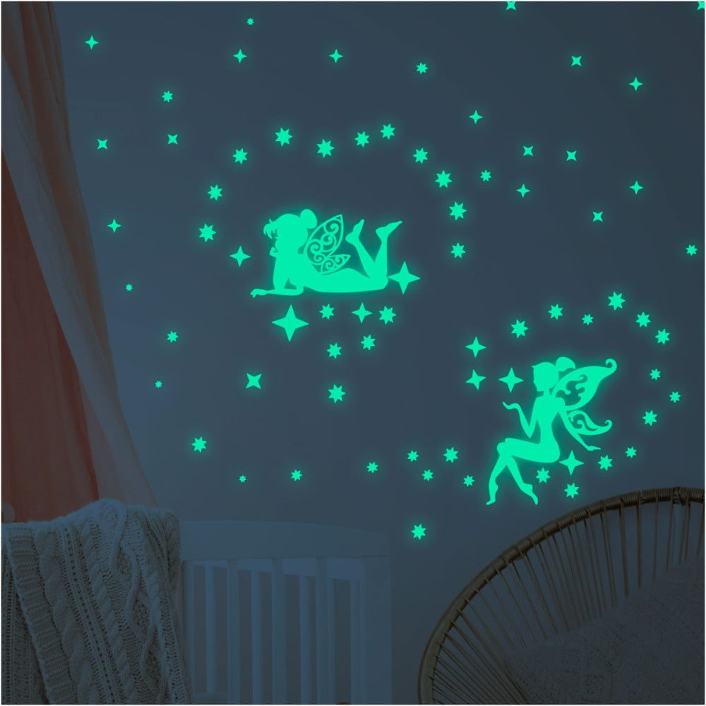 Sada nástenných detských svietiacich samolepiek Ambiance Glow In The Dark Big Fairies