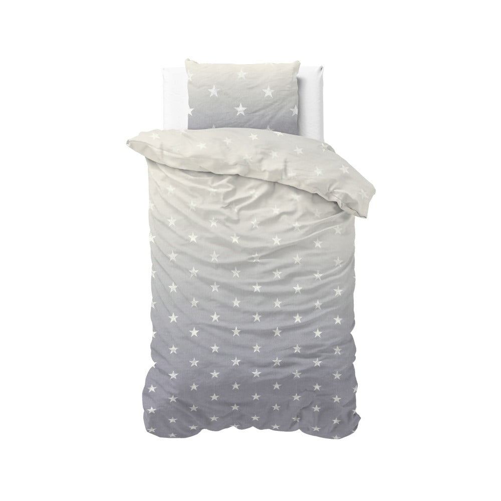 Sivé obliečky Sleeptime Twinkle Stars, 140 × 220 cm