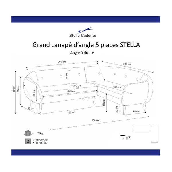 Olivovozelená rohová trojmiestna pohovka Scandi by Stella Cadente Maison, pravý roh
