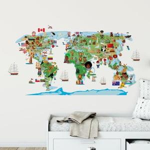 Nástenná samolepka Ambiance World Map Discovry