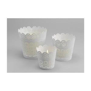 Set 3 kalíškou na sviečku Lace White