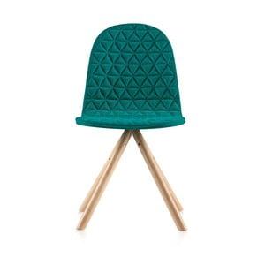 Tyrkysová stolička s prírodnými nohami IKER Mannequin Triagle