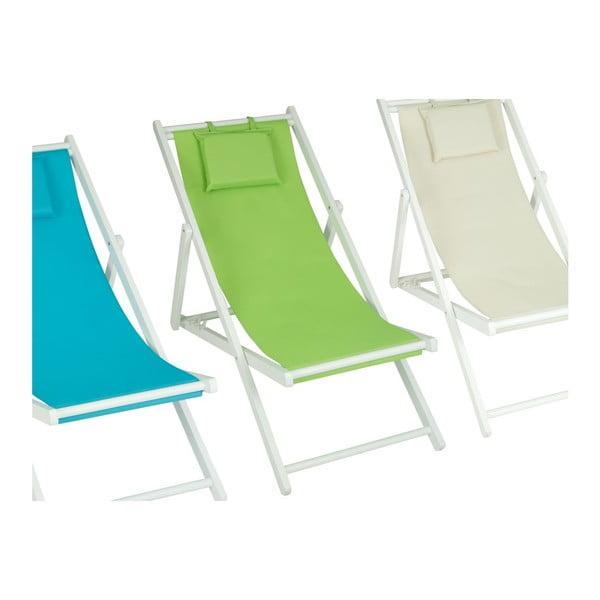 Ležadlo Wooden Beach Green, 75x60x140 cm