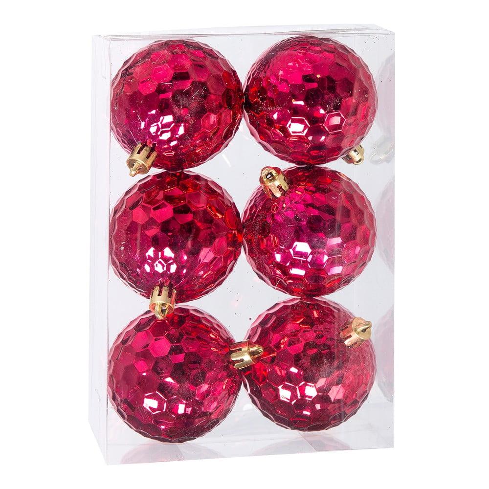 Sada 6 rúžových dekoratívnych gúľ Unimasa
