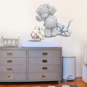 Dekoratívna samolepka na stenu Macko, mačička a psík