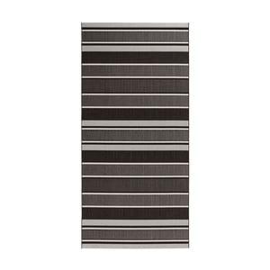 Čierno-sivý behúň vhodný aj do exteriéru Strap, 80×150 cm
