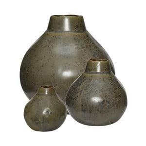 Sada 3 zelených keramických váz Hübsch Pamila