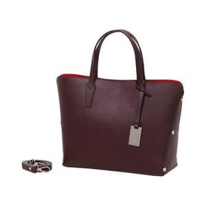 Tmavě vínová kabelka z pravé kůže Andrea Cardone Dettalgio