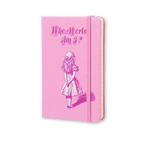 Malý ružový zápisník Moleksine Alice in Wonderland, bezlinajok