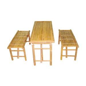 Set stolov a 2 lavíc z bambusu Leitmotiv