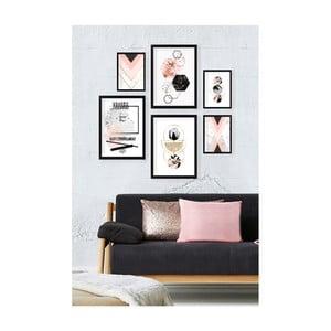 Sada 6 nástenných obrazov Tablo Center Pinky Tones