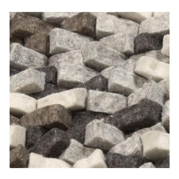 Vlnený koberec Crush, 70x70 cm, sivý