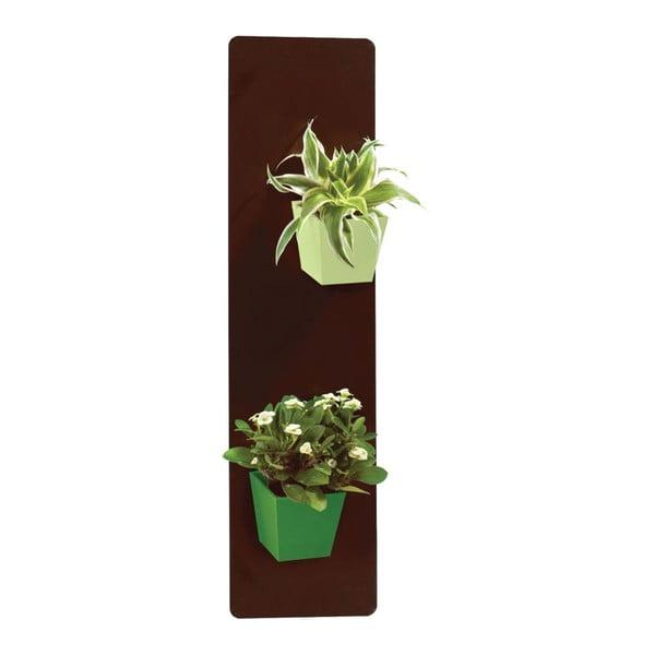 Podstavec na magnetické kvetináče, hnedý, 14x50 cm