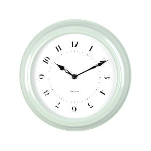 Zelené nástenné hodiny Present Time Fifties, priemer 30cm