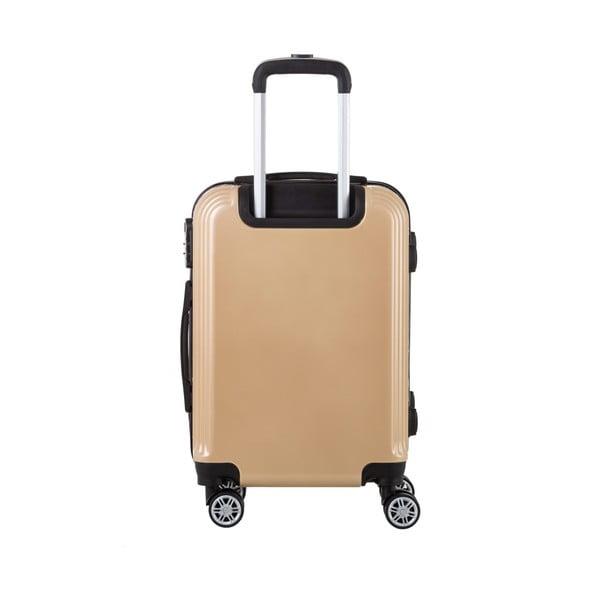 Cestovný kufor v zlatej farbe so sadou nálepiek Berenice Stickers, 44 l