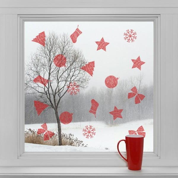 Elektrostatické vianočné samolepky Červené dekorácie
