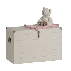 Biely box na hračky zmasívneho borovicového dreva Pinio Armada