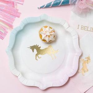 Bielo-zlatý papierový tanier Talking Tables We Heart Unicorns