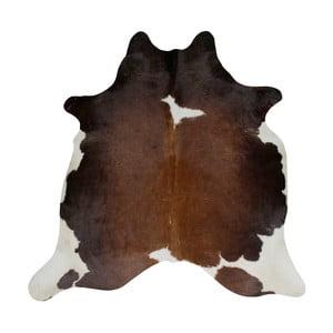 Čierno-hnedý koberec z hovädzej kože, 196 x 160 cm