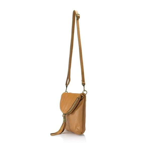 Koňakovohnedá kožená kabelka Lisa Minardi Renae