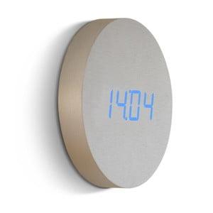 Svetlý nástenný budík s modrým LED displejom Gingko Round Clock