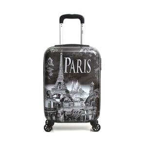 Sivý cestovný kufor na kolieskach Hello Paris