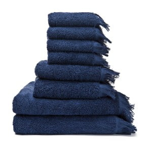 Set 6 modrých bavlnených uterákov a2 osušiek Casa Di Bassi Bath
