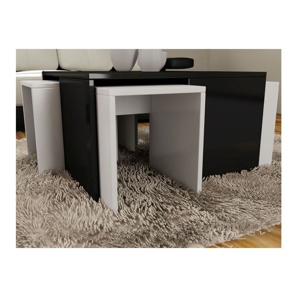 Konferenčný stolík so 4 stoličkami Ortanca Black