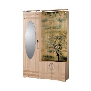 Hnedá predsieňová stena so zrkadlom Síhirlí Tree, výška 195 cm