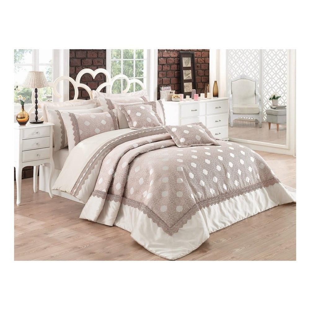 Set plédu cez posteľ na dvojlôžko s obliečkami na vankúše Caren, 260 × 270 cm