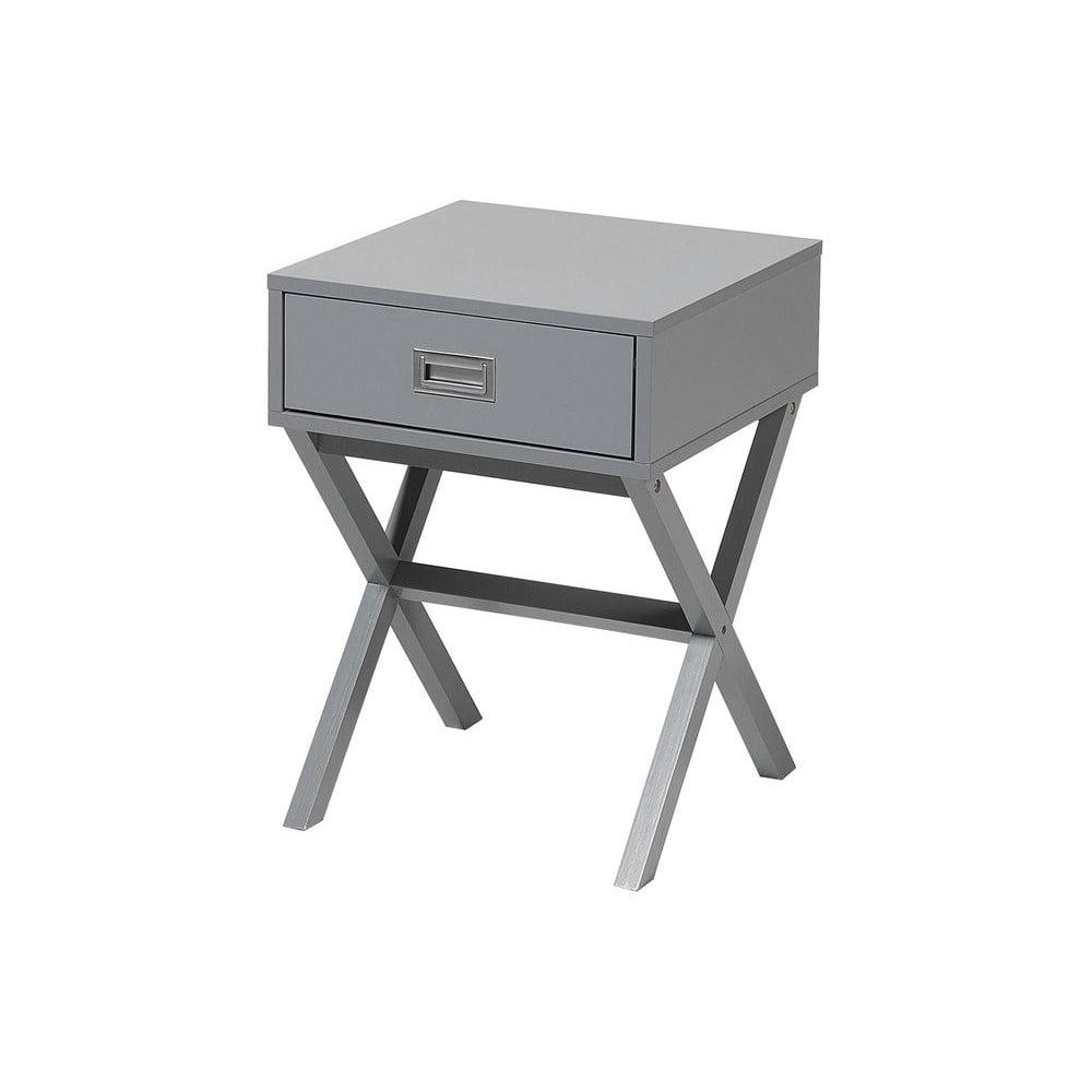 Sivý nočný stolík s 1 zásuvkou Monobeli Frey